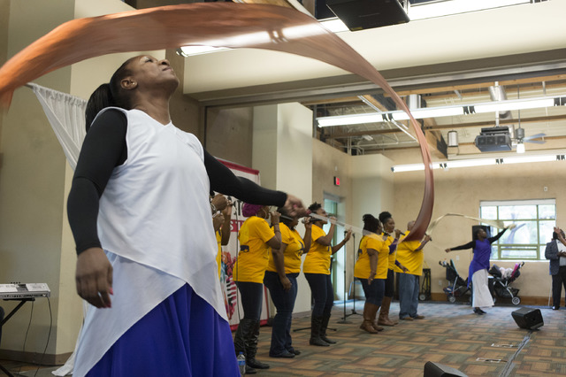 The New Antioch Christian Fellowship Praise Team performs for a large crowd during the Black History Month Festival at Springs Preserve on Saturday, Feb. 18, 2017, in Las Vegas.  (Bridget Bennett/ ...