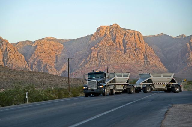 A truck leaves the Blue Diamond Hill Gypsum mine near the town of Blue Diamond on Wednesday morning, Aug. 10, 2016. Daniel Clark/Las Vegas Review-Journal Follow @DanJClarkPhoto