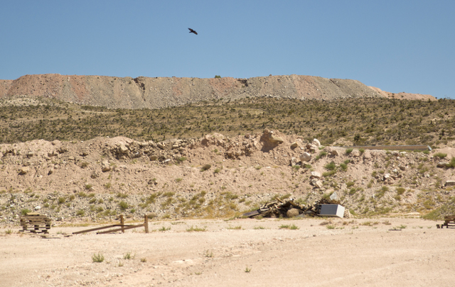 A crow flies over the site of a proposed community inside the Blue Diamond Hill Gypsum mine near the town of Blue Diamond on Thursday, Aug. 11, 2016. Daniel Clark/Las Vegas Review-Journal Follow @ ...