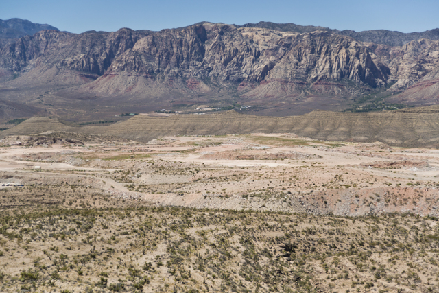 The site of a proposed community is seen inside the Blue Diamond Hill Gypsum mine near the town of Blue Diamond on Thursday, Aug. 11, 2016. (Daniel Clark/Las Vegas Review-Journal) @DanJClarkPhoto