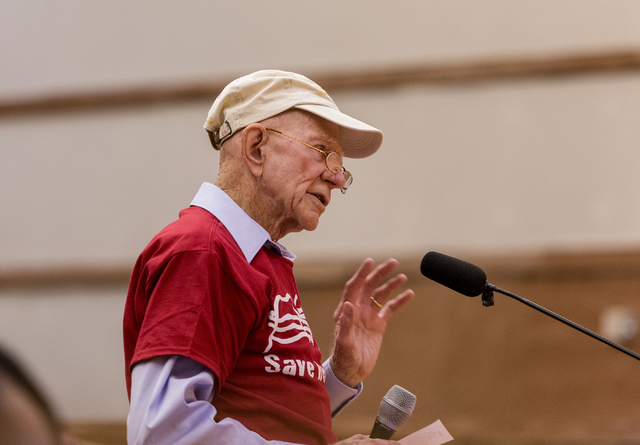 Howard Booth, 90, has been fighting for Red Rock for  55 years, gives a testimony against  the proposed development of 5,025 homes on Blue Diamond Hill to the County Commissioners Wed. Feb. 22, 20 ...