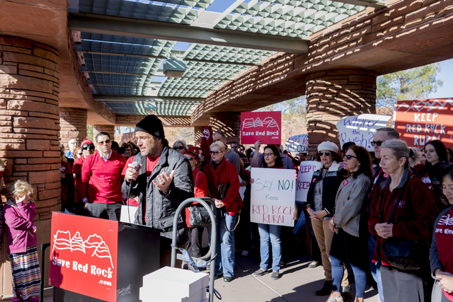 """Thomas Joseph """"T. J."""" Lavin, American BMX rider and the host of MTV's The Challenge, speaks against  the proposed development of 5,025 homes on Blue Diamond Hill at a press confe ..."""