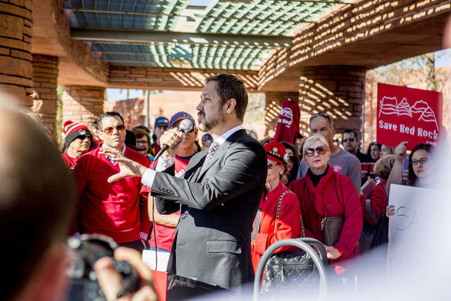 The Killers' manager Robert Reynolds speaks on behalf of the local band against the proposed development on Blue Diamond Hill before the Clark County Commission meeting, Wed. Feb. 22, 2017.  (Eliz ...