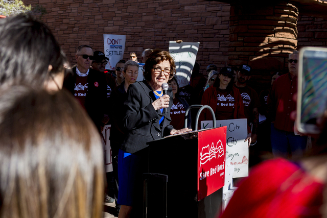 Congresswoman Jacky Rosen speaks against  the proposed development of 5,025 homes on Blue Diamond Hill to the County Commissioners Wednesday, Feb. 22, 2017, at the Clark County Government Center.  ...