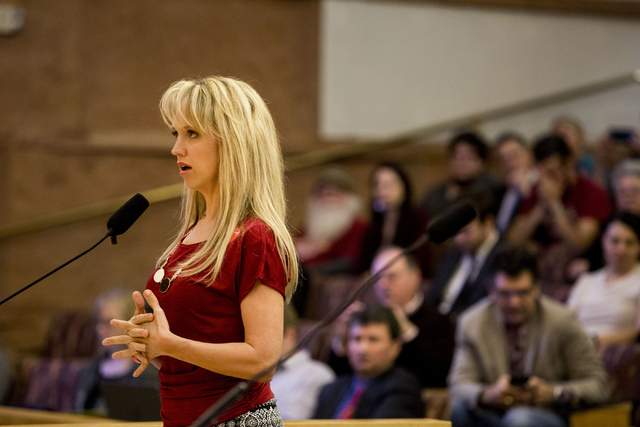 Heather Fisher, president of Save Red Rock, testifies before the Clark County Commission, Wednesday, Feb. 22, 2017 at the Clark County Government Center. (Elizabeth Brumley/Las Vegas Review-Journa ...