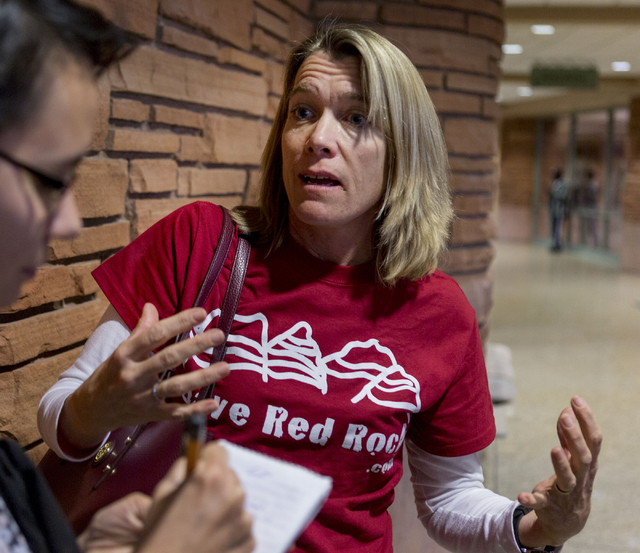 Dr. Sheila Billingsley, treasurer of of Save Red Rock, discusses her great disappointment with the County Commissioners' decision regarding the proposed development of 5,025 homes on Blue Diamond  ...