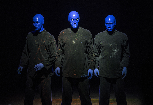 Blue Man Group members Alain Rochefort, left, Mathew Banks and Vinnie Masteguim perform on Tuesday, Jan. 31, 2017, at the Luxor hotel-casino, in Las Vegas. (Benjamin Hager/Las Vegas Review-Journal ...