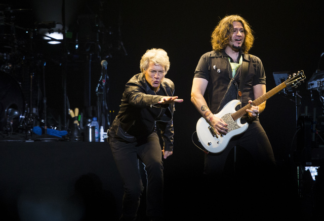 Jon Bon Jovi, left, and Phil X of Bon Jovi performs at the T-Mobile Arena in Las Vegas on Saturday, Feb. 25, 2017. (Chase Stevens/Las Vegas Review-Journal) @csstevensphoto