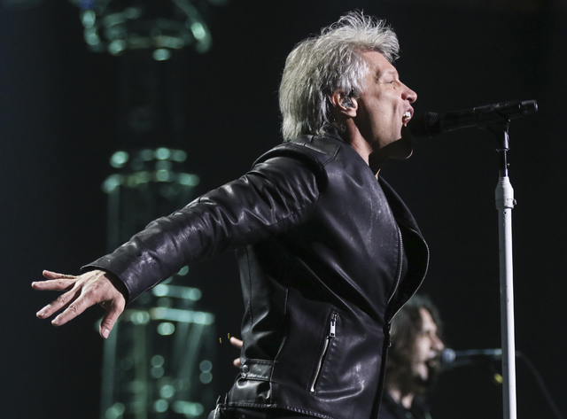 Jon Bon Jovi of Bon Jovi performs at the T-Mobile Arena in Las Vegas on Saturday, Feb. 25, 2017. (Chase Stevens/Las Vegas Review-Journal) @csstevensphoto