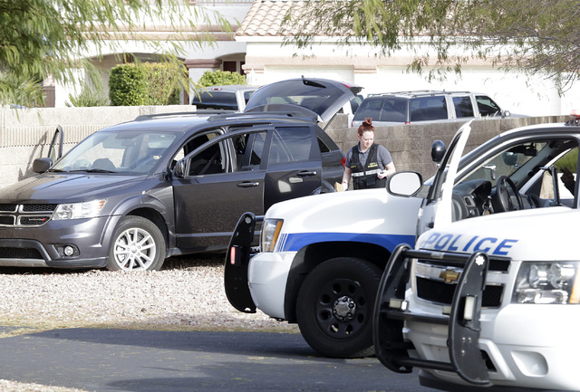 Henderson police located a vehicle driven by a man who fled after trying to steal an ATM from a Walgreens at 401 N. Arroyo Grande Blvd. in Henderson on Tuesday, Feb. 7, 2017. (Bizuayehu Tesfaye/La ...