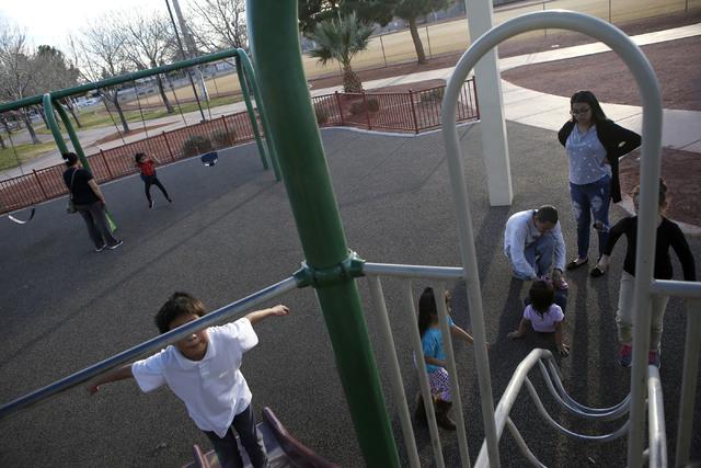 People play at the Rafael Rivera Park on Wednesday, Feb. 8, 2017, in Las Vegas. (Christian K. Lee/Las Vegas Review-Journal) @chrisklee_jpeg