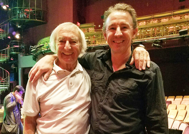 """Father-and-son Brian Dewhurst and Nicky Dewhurst attend rehearsal for the fifth-annual """"One Night for One Drop"""" at Zumanity Theater at New York-New York on Tuesday, Feb. 7, 2017, in Las Vegas. ..."""