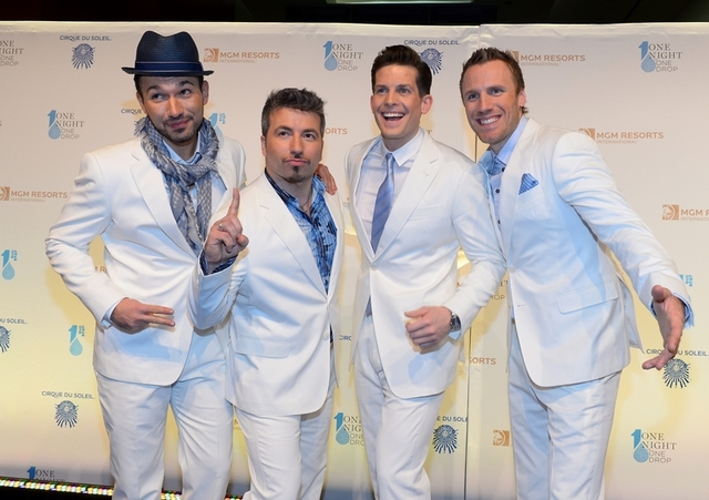 "The Tenors arrive on the blue carpet for Cirque du Soleil's ""One Night for One Drop"" at Mandalay Bay on Friday, March 21, 2014, in Las Vegas. (Bryan Steffy/WireImage)"