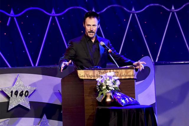 Magician Lance Burton speaks at the Tony Sacca Celebration of Life Memorial at the Stratosphere, Feb. 6, 2017. (Glenn Pinkerton/Las Vegas News Bureau)