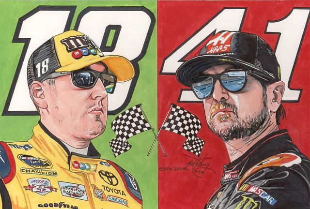 Kyle Busch, left, and Kurt Busch. (Neal Portnoy/Las Vegas Review-Journal)