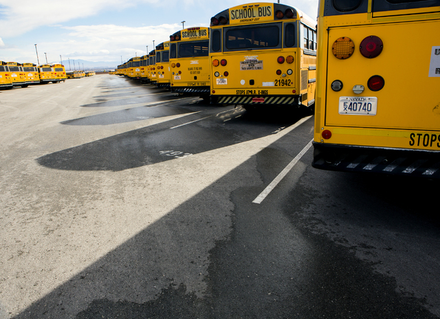 Rows of buses line up at Clark County School District in the Northwest Bus Yard, CCSD, 10901 West Washburn Road on Monday, Jan. 23, 2017.  (Jeff Scheid/Las Vegas Review-Journal) @jeffscheid