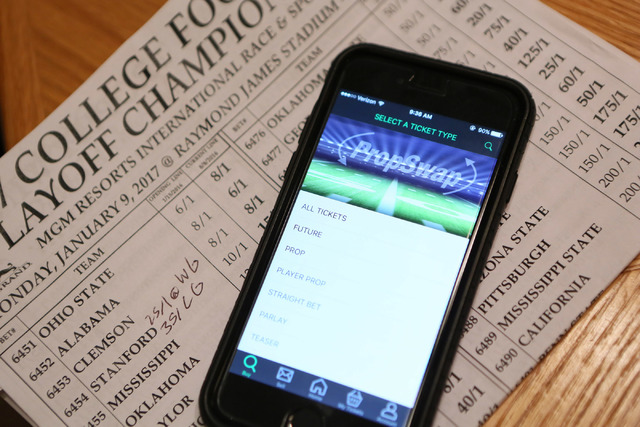 The PropSwap app is shown on a smartphone Friday, Sept. 9, 2016, in Las Vegas. PropSwap will compete for Startup of the Year in San Jose, Calif. (Ronda Churchill/Las Vegas Review-Journal)
