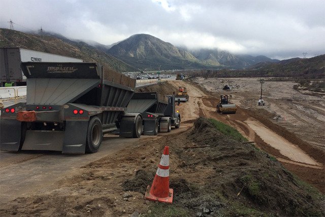 Repair work in the southbound lanes of Interstate 15 in California's Cajon Pass (Caltrans District 8/Twitter)