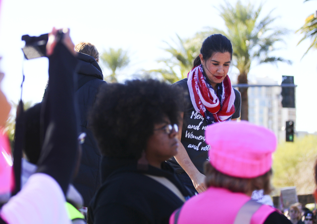 Nevada State Senator-elect Yvanna Cancela gathers with supporters of women's rights gather outside of the Lloyd George U.S. Courthouse in downtown Las Vegas, Saturday, Jan. 21, 2017. (Chase Steven ...