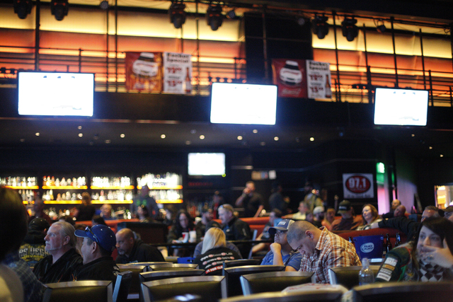 People watch the the Daytona 500 race on Sunday Feb. 26, 2017, at the showroom at the South Point hotel and casino in Las Vegas. (Rachel Aston/Las Vegas Review-Journal) @rookie__rae