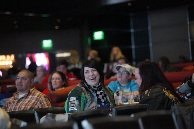 Emily LaBelle laughs while watching the Daytona 500 race on Sunday Feb. 26, 2017, at the showroom at the South Point hotel and casino in Las Vegas. (Rachel Aston/Las Vegas Review-Journal) @rookie__rae