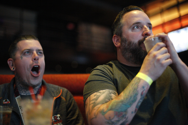 Swarm Wood and Joey Hutchinson watch the Daytona 500 race on Sunday Feb. 26, 2017, at the showroom at the South Point hotel and casino in Las Vegas. (Rachel Aston/Las Vegas Review-Journal) @rookie ...