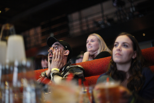 Ernesto Chaidez watches the the Daytona 500 race on Sunday Feb. 26, 2017, at the showroom at the South Point hotel and casino in Las Vegas. (Rachel Aston/Las Vegas Review-Journal) @rookie__rae