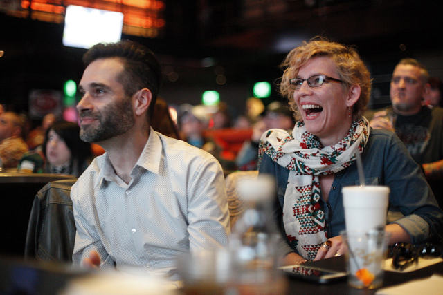 Youri Ardenoy and Anja Ryssaert watch the Daytona 500 race on Sunday Feb. 26, 2017, at the showroom at the South Point hotel and casino in Las Vegas. (Rachel Aston/Las Vegas Review-Journal) @rooki ...