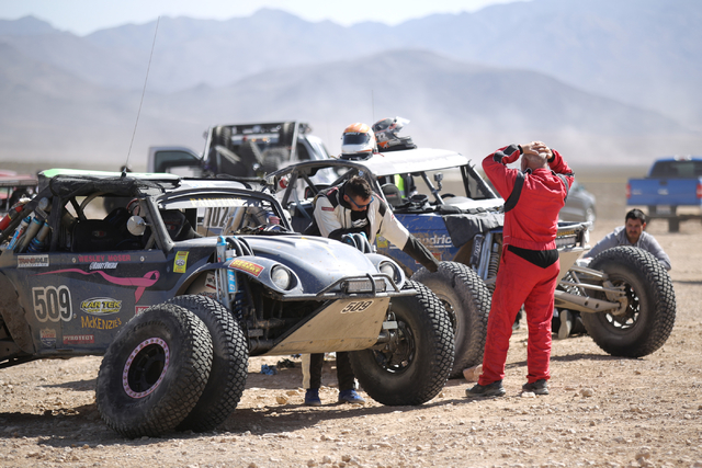 Competitors wait for a repair or tow during the Mint 400 just east of the state line near Primm, Nev., on Saturday, March 12, 2016. Many racers will had their day ended short by mechanical failure ...