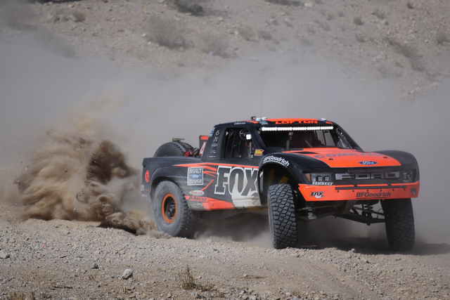 Justin Lofton (41) takes a corner in his Trick Truck during the Mint 400 just east of the state line near Primm, Nev., on Saturday, March 12, 2016. Brett Le Blanc/Las Vegas Review-Journal Follow @ ...