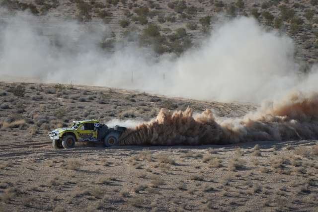 Josh Daniel (90) powers through silt in his Trick Truck during the Mint 400 just east of the state line near Primm, Nev., on Saturday, March 12, 2016. Brett Le Blanc/Las Vegas Review-Journal Follo ...