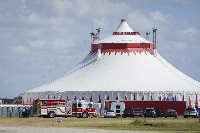Five people were injured Wednesday, Feb. 8, 2017,  in Sarasota, Florida, while rehearsing the final act, an eight-person pyramid on a high wire, for the upcoming Circus Sarasota show Synergy.  (Ra ...