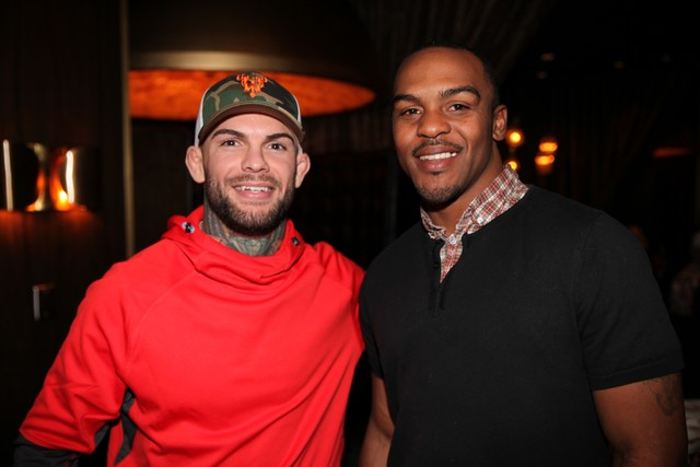 Cody Garbrandt and Dante Hughes at Joe Vicari's Andiamo Italian Steakhouse at The D Las Vegas. (Courtesy)