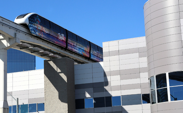 A Las Vegas Monorail approaches the Las Vegas Convention Center station Tuesday, Jan. 31, 2017. An LVGEA official said Wednesday the state must enhance its transportation systems in order to stay  ...