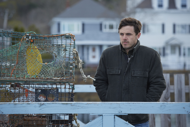 """This image released by Roadside Attractions and Amazon Studios shows Casey Affleck in a scene from """"Manchester By The Sea."""" Affleck is nominated for an Oscar for best actor in a leading role for h ..."""