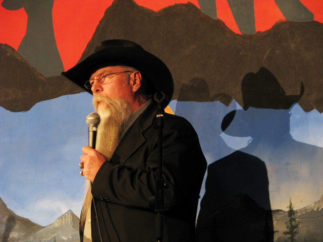 """Dave Winters recited his poem """"Outlaw Trail"""" during an open mic event Feb. 3, 2017 as part of the the National Cowboy Poetry Gathering at Elko Nev. (F. Andrew Taylor/Las Vegas Review ..."""