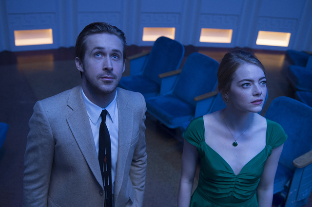 "Ryan Gosling and Emma Stone appear in a scene from ""La La Land.""  ""I don't know how many green items I bought for (Emma's) character,"" Kim Richey says ..."