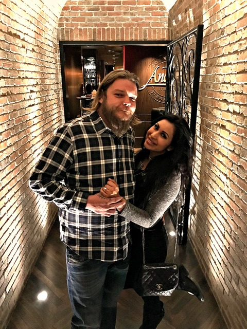 Corey Harrison and Kiki Nejo at Joe Vicari's Andiamo Italian Steakhouse at The D Las Vegas in Downtown Las Vegas. (Courtesy)