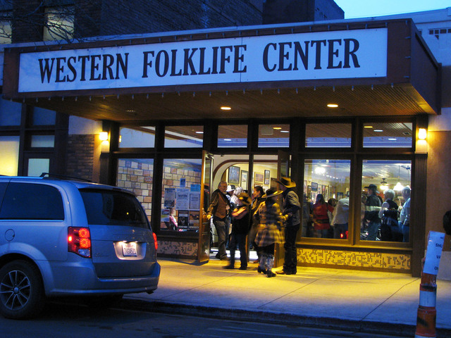 The  National Cowboy Poetry Gathering at Elko Nev. is organized by the staff of the Western Folklife Center and many of the events take place there. Attendees socialized in the Pioneer Saloon in t ...