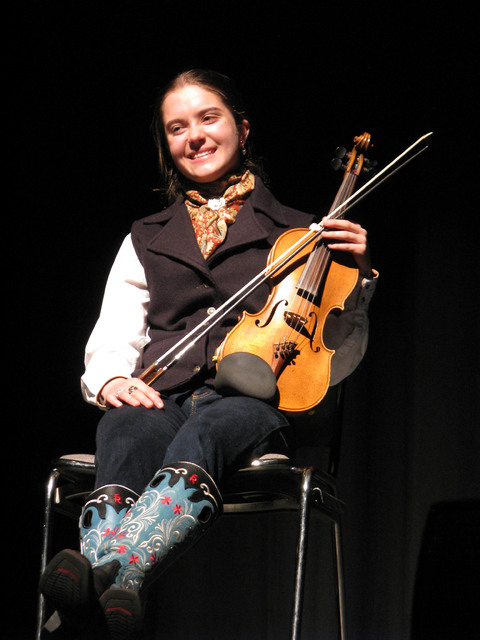 Fiddler Brigid Reedy performed musical interludes at The Moth Mainstage at the National Cowboy Poetry Gathering at Elko Nev. Feb. 4, 2017. (F. Andrew Taylor/Las Vegas Review-Journal)