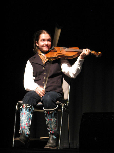 Fiddler Brigid Reedy yodeled at the Pioneer Saloon  at the National Cowboy Poetry Gathering at Elko when she was two. The 14-year-old musician has attended every gathering since and performed at T ...
