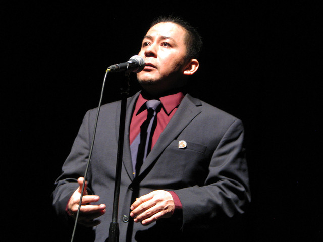 Nestor Gomez told his story about crossing the border into the United States illegally as a child at The Moth Mainstage at the National Cowboy Poetry Gathering at Elko Nev. Feb. 4, 2017. (F. Andre ...