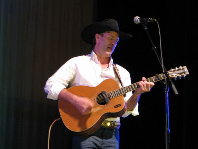 """Corb Lund sang songs about ranching and large animal veterinary procedures at a set called """"Pouring 'Em Kinda Strong"""" Feb. 3, 2017 as part of the the National Cowboy Poetry Ga ..."""