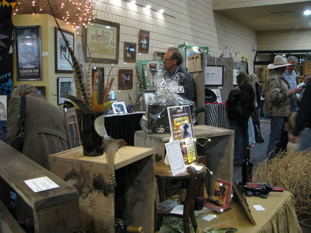 A silent auction filled much of the lobby of the Elko Convention Center during the Western Folklife Center. (F. Andrew Taylor/Las Vegas Review-Journal)