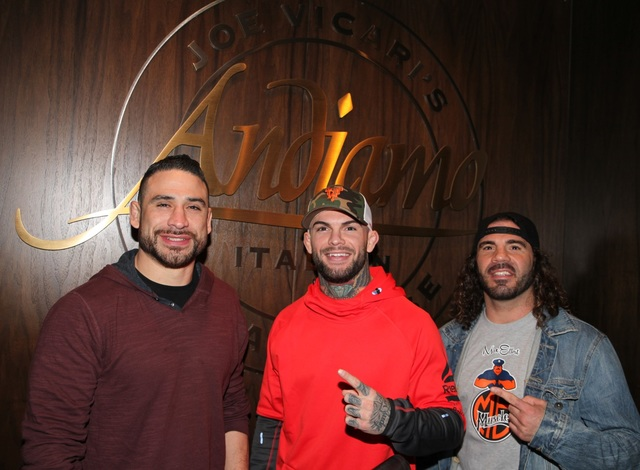 Danny Castillo, Cody Garbrandt and Clay Guida at Joe Vicari's Andiamo Italian Steakhouse at The D Las Vegas. (Courtesy)