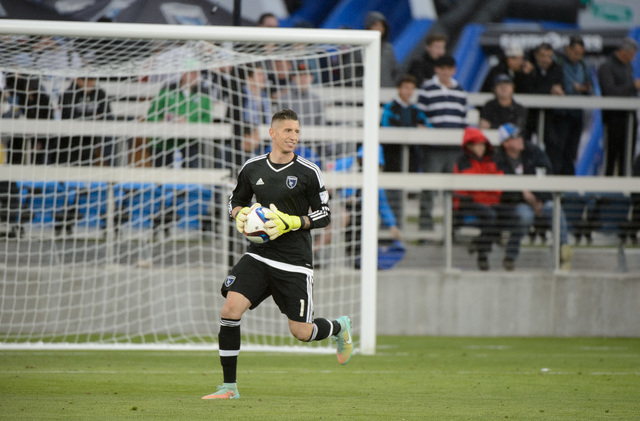 David Bingham is the starting goalkeeper for the San Jose Earthquakes and will play in his third Las Vegas soccer match on Saturday. (Courtesy of the Earthquakes)