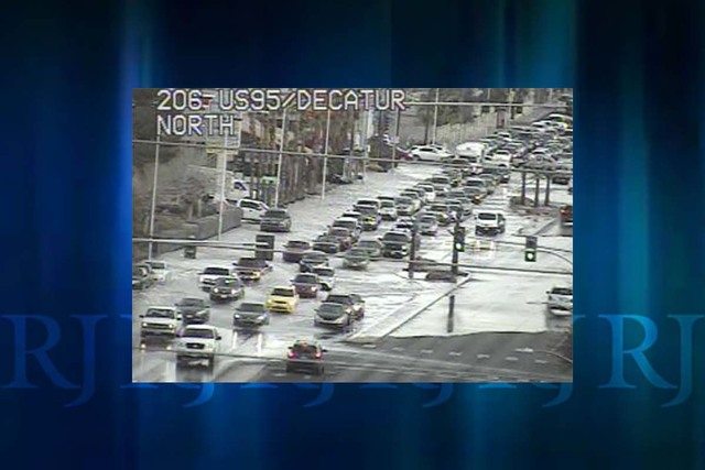 Decatur Boulevard near Washington Avenue was closed because of flooding Tuesday morning, Feb. 7, 2017. (RTC FAST Cameras)