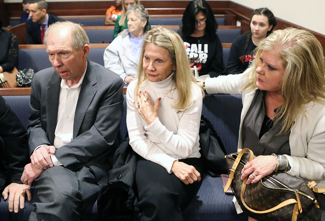 """Danny and Avis Winters, center, the parents of Susan Winters, and her sister-in-law Julie at Henderson Justice Court, where psychologist Gregory """"Brent"""" Dennis made his first court appearance on M ..."""