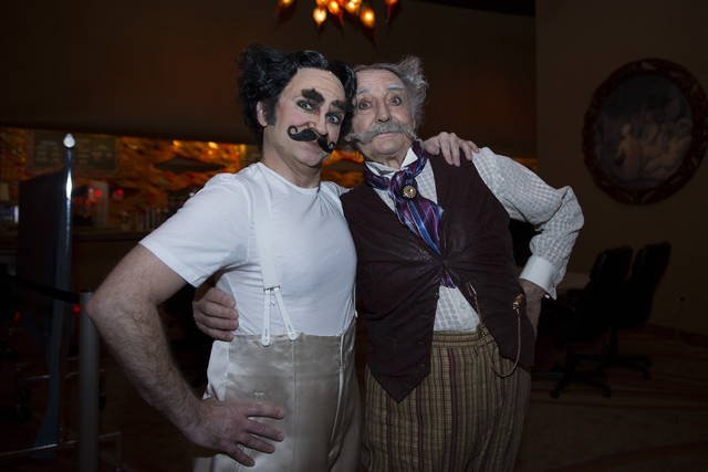Jimmy Slonina, left, and Brian Dewhurst before a rehearsal for One Night for One Drop show at the Zumanity Theater in New York-NewYork hotel-casino, Tuesday, Feb. 7, 2017, in Las Vegas. The annual ...