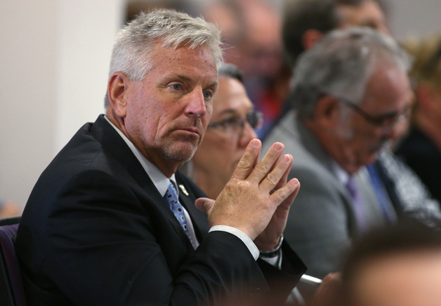Nevada State Engineer Jason King listens to public comment during a subcommittee hearing at the Legislative Building in Carson City, Nev., on Friday, Aug. 26, 2016. More than 700 people showed up  ...